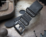 26mm MiLTAT G10 Grezzo SQ ZULU Watch Strap Matte Nero Black Geniune Calf, PVD Black