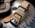 26mm MiLTAT G10 Grezzo SQ ZULU Watch Strap Saddle Brown Geniune Calf, PVD Black
