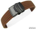 22mm 4 Groove Line Choco Silicon Watch Strap on PVD Black Diver Clasp, B