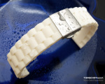 20mm Off White Oyster Style Silicone Watch Band Deployment Clasp for Sport Watch
