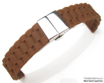 20mm Choco Oyster Style Silicon Strap on Deployant Clasp for Sport Watch, P