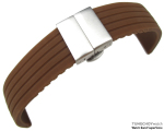 22mm 4 Groove Line Choco Silicon Watch Strap on Deployment Clasp, B