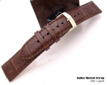 20mm SEIKO CALF B Leather - Dark Brown Alligator Grain Strap